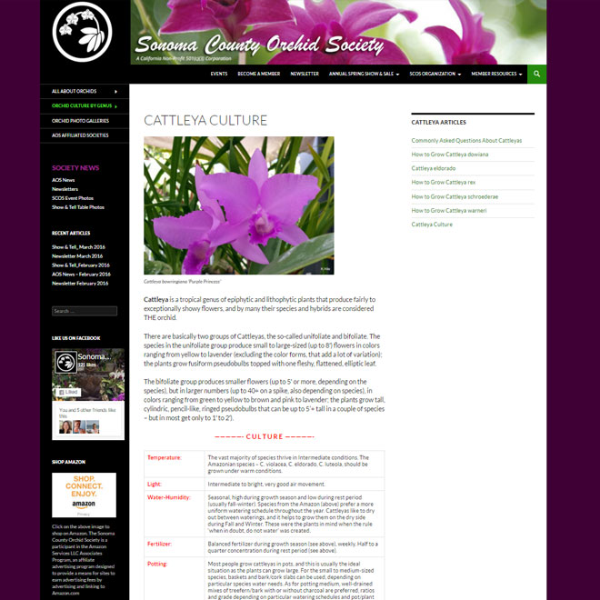 Sonoma County Orchid Society Web Design