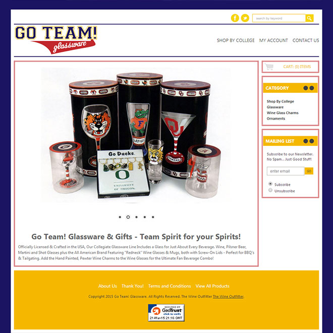 Go Team Glassware Logo & Web Design for eCommerce Online Store