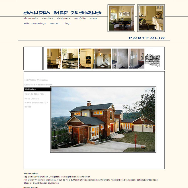 Sandra Bird Design Firm Web Site Design