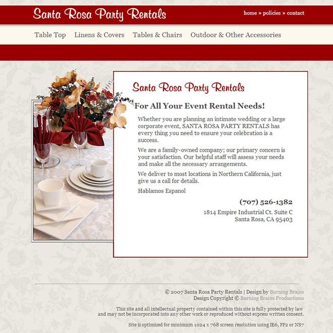 Santa Rosa Party Rentals Web Site Design